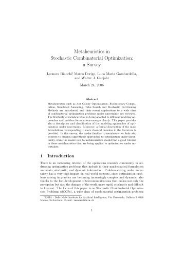 Metaheuristics in Stochastic Combinatorial Optimization: a ... - Idsia