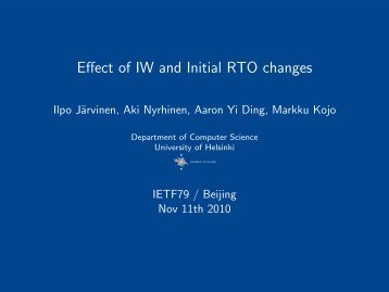 Effect of IW and Initial RTO changes