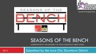 SEASONS OF THE BENCH - International Downtown Association