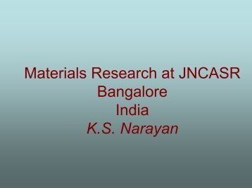 Materials Research at JNCASR - ICMR : International Center for ...
