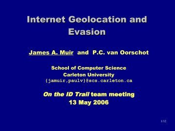 Internet Geolocation and Evasion