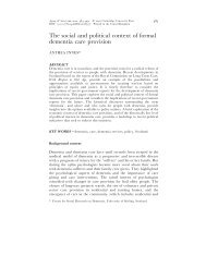 The social and political context of formal dementia care provision