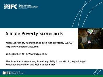 Simple Poverty Scorecards - IFC