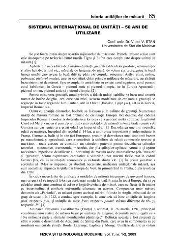 Istoria unităţilor de măsură 65 SISTEMUL INTERNAŢIONAL DE ...