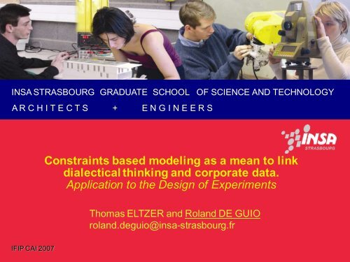 Constraints based modeling as a mean to link dialectical ... - IFIP