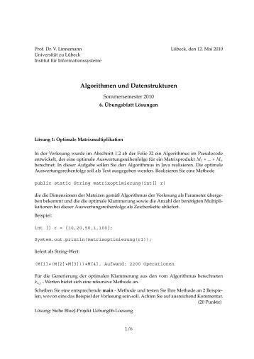 Algorithmen und Datenstrukturen - Institut für Informationssysteme ...
