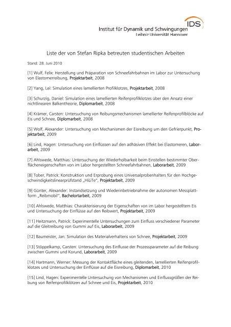 Liste der von Stefan Ripka betreuten studentischen Arbeiten - IDS