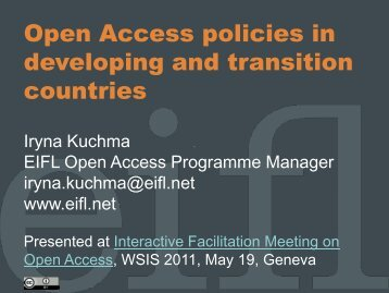 Open Access policies in developing and transition countries - IFLA