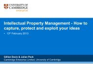 Capture, protect and exploit your ideas - University of Cambridge