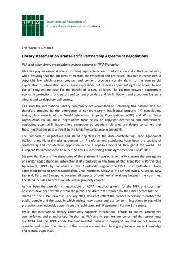 Library statement on Trans-Pacific Partnership Agreement ... - IFLA