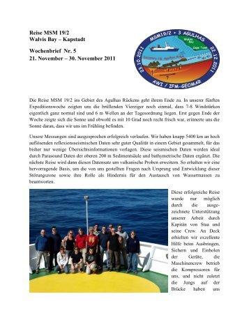 Reise MSM 19/2 Walvis Bay – Kapstadt Wochenbrief Nr. 5 21 ...