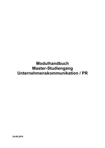 Modulhandbuch Master-Studiengang Unternehmenskommunikation ...