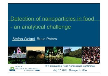 Detection of Nanoparticles in Food – An Analytical Challenge