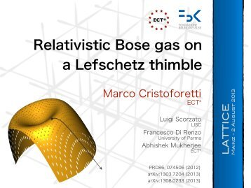 Relativistic Bose gas on a Lefschetz thimble - Lattice 2013
