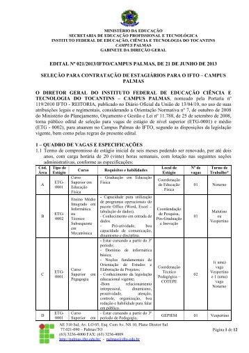 EDITAL Nº 021/2013/IFTO/CAMPUS PALMAS, DE 21 DE JUNHO ...