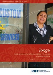 Tonga Gender and Investment Climate Reform Assessment - IFC
