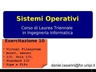 Filesystem, , I/O - Dipartimento di Ingegneria dell'Informazione