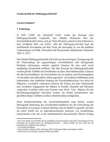 Gendermodell der Halbtagsgesellschaft1 Carsten Stahmer2 1 ...