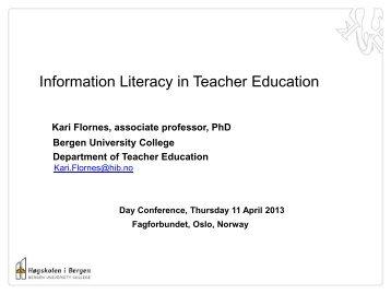 Information Literacy in Teachers Education - IFLA