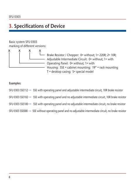 SFU 0303 3  Specification