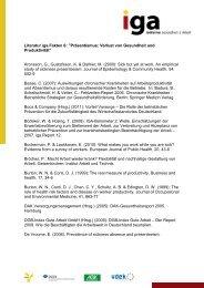 Literatur iga.Fakten 6 - Initiative Gesundheit & Arbeit