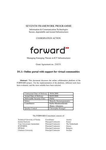 Online portal with support for virtual communities - ict-forward