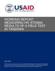 Measuring HIV Stigma: Results of a Field Test in Tanzania - ICRW