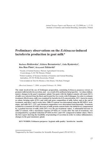 Preliminary observations on the Echinacea-induced lactoferrin ...