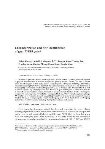 Characterization and SNP identification of goat TYRP1 gene*