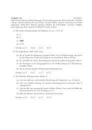 Aufgabe 10: (6 Punkte) Bitte kreuzen Sie die richtige Lösung an. Es ...