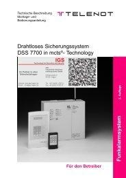 Telenot - Drahtloses Sicherungssystem DSS 7700 - Bedienung