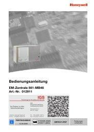 Honeywell - Einbruchmelderzentrale 561-MB48 - Bedienung (PDF)