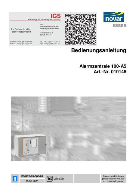 Honeywell - Einbruchmelderzentrale 100-A5 - IGS-Industrielle ...