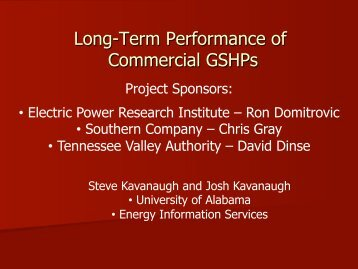 Long-Term Performance of Commercial GSHPs - IGSHPA