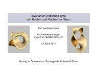 Invarianten endlichen Typs von Knoten und Flächen im Raum