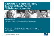 A Template for a HealthCare Facility Business Continuity Plan