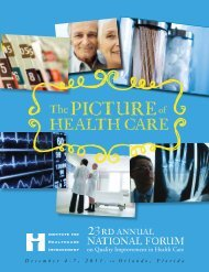 The PICTuRE of HEaLTH CaRE - Institute for Healthcare Improvement