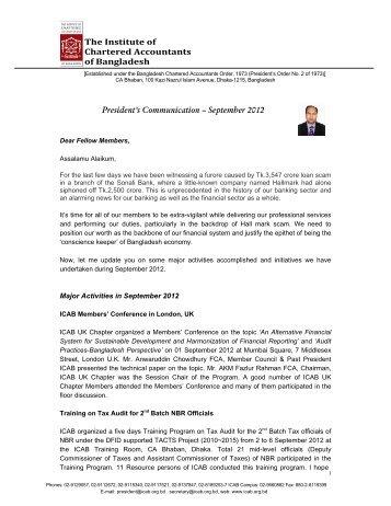 president comm sep-2012.pdf - ICAB