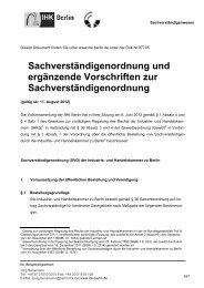 Sachverständigenordnung und ergänzende Vorschriften ... - IHK Berlin