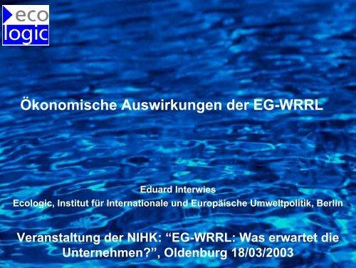 Die ökonomischen Aspekte der WRRL