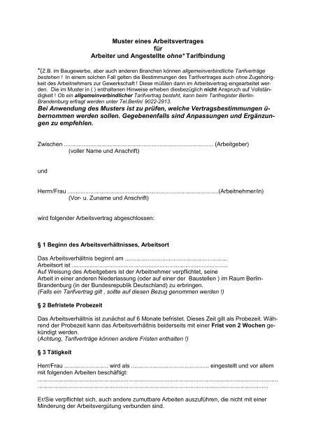 Muster Eines Arbeitsvertrages Fã¼r Arbeiter Und Angestellte Ohne
