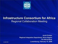 The World Bank perspective - The Infrastructure Consortium for Africa