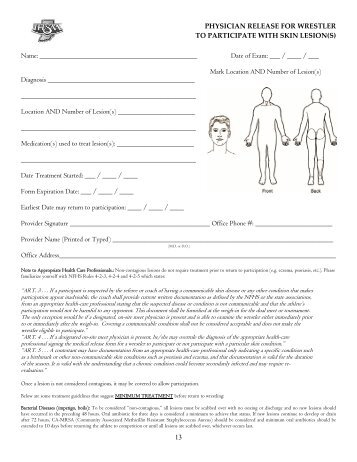 Physician Release Form For Wrestler To Participate With Skin Lesion