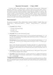 Egzamin licencjacki — 3 lipca 2009 Matematyka I