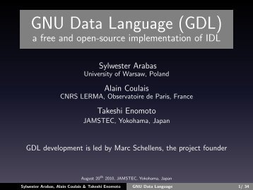 GNU Data Language (GDL) a free and open-source implementation ...