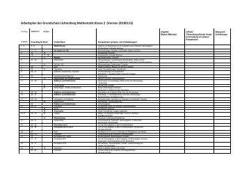 Arbeitsplan der Grundschule Lichtenberg Mathematik Klasse 2 ...