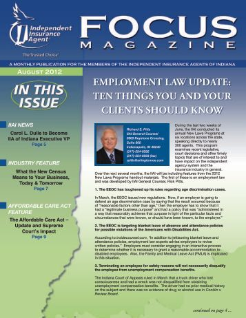 august 2012 issue - Independent Insurance Agent