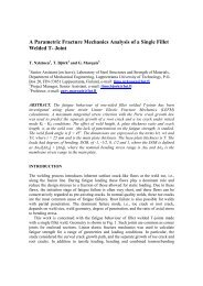 A Parametric Fracture Mechanics Analysis of a Single Fillet Welded ...