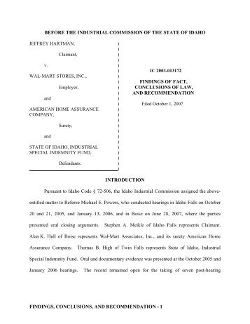 Hartman v. Wal-Mart Stores, Inc. - the Idaho Industrial Commission!