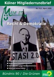 Nr. 212, März 2008 - Bündnis 90/Die Grünen Kreisverband Köln